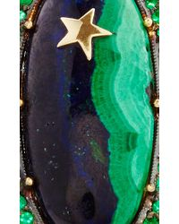 Andrea Fohrman | Green One Of A Kind Malachite & Lapis Ring With Emeralds With Yellow Gold Star | Lyst