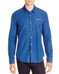 Scotch & Soda - Blue Crispy Poplin Regular Fit Button Down Shirt for Men - Lyst