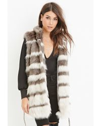 Forever 21 | Gray Contemporary Striped Faux Fur Vest | Lyst