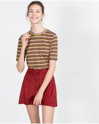 Zara | Brown Striped T-shirt | Lyst