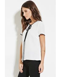 Forever 21 - White Contrast-trimmed Top - Lyst