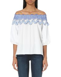 Peter Pilotto - Blue Pallas Off-the-shoulder Cotton-blend Top - Lyst