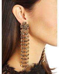 Oscar de la Renta - Metallic Multistrand Crystal Flower Earrings - Lyst