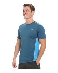New Balance - Blue Accelerate Short Sleeve for Men - Lyst