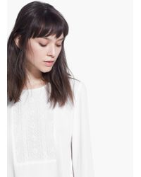 Mango | White Embroidered Panel Blouse | Lyst