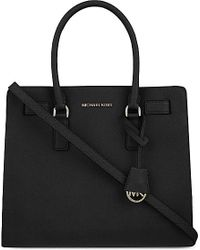 MICHAEL Michael Kors | Black Dillon Medium Saffiano Leather Satchel | Lyst