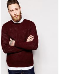 ASOS | Cable Knit Jumper With Rib Detail - Red for Men | Lyst