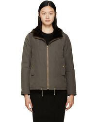 Army by Yves Salomon - Brown Reversible Mink And Nylon Jacket - Lyst