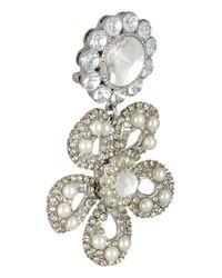 Miu Miu Yellow Silver-Plated, Swarovski Pearl And Crystal Clip Earrings