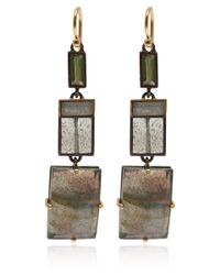 Nak Armstrong | Gray Gold, Silver, Labradorite And Tourmaline Drop Earrings | Lyst