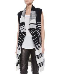 Vince - Black Draped Mixed-stripe Knit Vest - Lyst