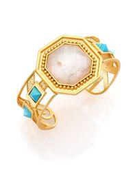 Stephanie Kantis | Metallic Joy White Quartz & Turquoise Cuff Bracelet | Lyst