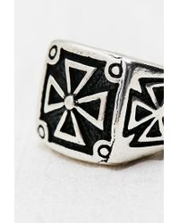 Urban Outfitters - Metallic Square Biker Ring in Silver - Lyst