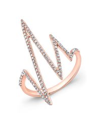 Anne Sisteron | Pink 14kt Rose Gold Diamond Heartbeat Ring | Lyst