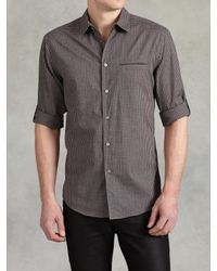 John Varvatos - Gray Slim Fit Shirt With Adjustable Sleeves for Men - Lyst
