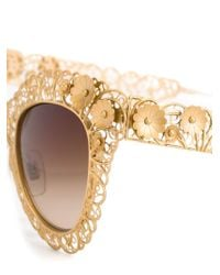 Dolce & Gabbana | Metallic Floral Lace Cat-eye Sunglasses | Lyst