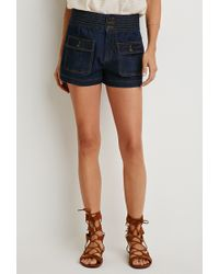 Forever 21 | Blue Contemporary Life In Progress Topstitched High-waist Shorts | Lyst