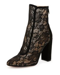 Gianvito Rossi - Black Lace & Suede Ankle Booties - Lyst