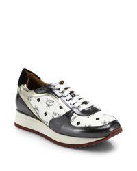 MCM | White Visetos Logo-print Leather Sneakers | Lyst