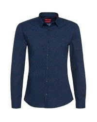 HUGO | Blue Slim-fit Casual Shirt In Cotton: 'elisha' for Men | Lyst