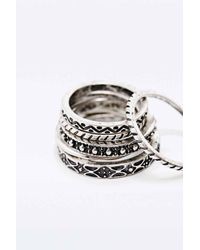 Urban Outfitters | Metallic Stone Ring Pack In Silver | Lyst