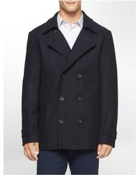 Calvin Klein - Blue White Label Wool Peacoat - Lyst