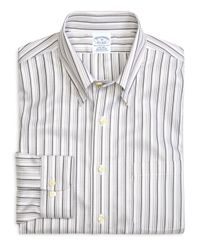 Brooks Brothers | Gray Supima® Cotton Non-iron Regular Fit Tonal Stripe Twill Sport Shirt for Men | Lyst