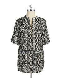 Calvin Klein   Black Plus Size Leopard-print Tied-waist Tunic Top   Lyst