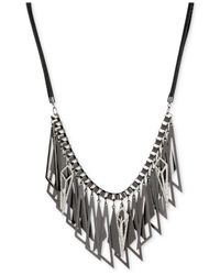 Steve Madden - Metallic Hematite-tone Geometric Shaky Frontal Necklace - Lyst