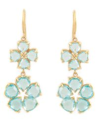 Marie-hélène De Taillac | Blue 22kt Gold Apatite Drop Flower Earrings | Lyst