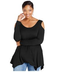 Soprano | Black Plus Size Cold-shoulder Handkerchief Top | Lyst