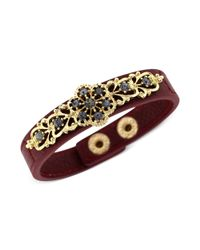 Jessica Simpson | Metallic Goldtone Black Diamond Stone Burgundy Bracelet | Lyst