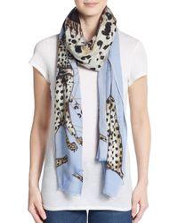 Mir - Blue Isos Cheetah Print Wool & Cashmere Scarf - Lyst