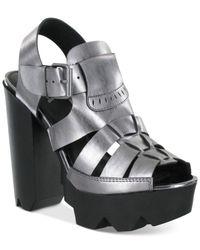 MIA | Metallic Luka Platform Razor Lug Sandals | Lyst