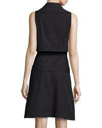 Proenza Schouler - Black Sleeveless Collared Shirtdress - Lyst