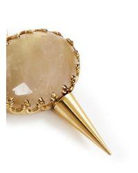 Ela Stone - Metallic 'perla' Oval Stone Spike Drop Earrings - Lyst