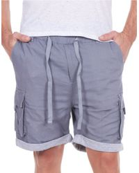 William Rast - Gray Linen-blend Roll-cuff Shorts for Men - Lyst