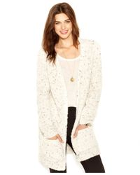 Maison Jules - White Flecked-knit Oversized Cardigan - Lyst