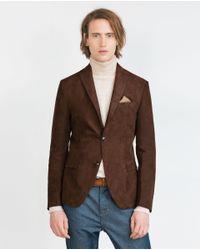 Zara | Brown Faux Suede Blazer for Men | Lyst