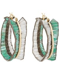 Nak Armstrong | Green Emerald Rainbow Moonstone Hoop Earrings | Lyst