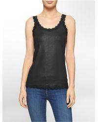 Calvin Klein | Black White Label Faux Leather Lace Trim Scoopneck Tank Top | Lyst