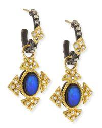 Armenta | Blue Mini Oval Opal Cross Earrings | Lyst