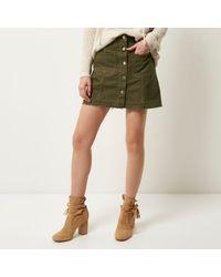 River island Khaki Denim Button-up A-line Skirt in Natural | Lyst
