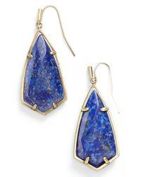 Kendra Scott - Blue 'carla' Semiprecious Stone Drop Earrings - Lapis/ Brass - Lyst