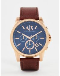 Armani Exchange | Chronograph Watch With Leather Strap Ax2508 - Brown for Men | Lyst