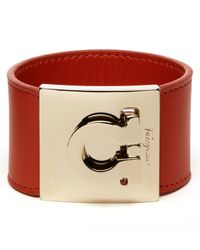 Ferragamo - Red Leather Gancini Cuff - Lyst