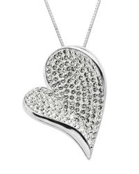 Lord & Taylor | Metallic Sterling Silver White Crystal Heart Pendant Necklace | Lyst