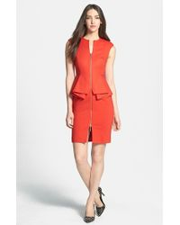 Ted Baker | Orange 'jamthun' Structured Peplum Cotton Blend Sheath Dress | Lyst