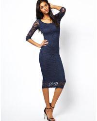 ASOS - Blue Bardot Lace Midi Dress - Lyst
