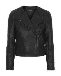 TOPSHOP | Black Faux Leather Biker Jacket | Lyst